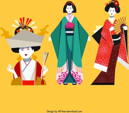 kimono girls icons colorful classical design cartoon characters