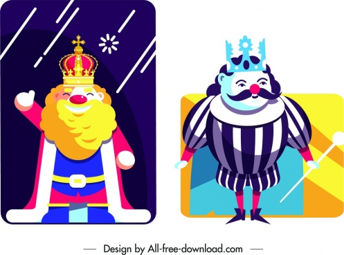 king card templates cartoon characters design