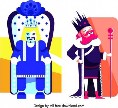 king card templates old man icon colorful design