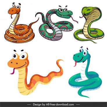 king cobra icons comic cartoon sketch colorful design