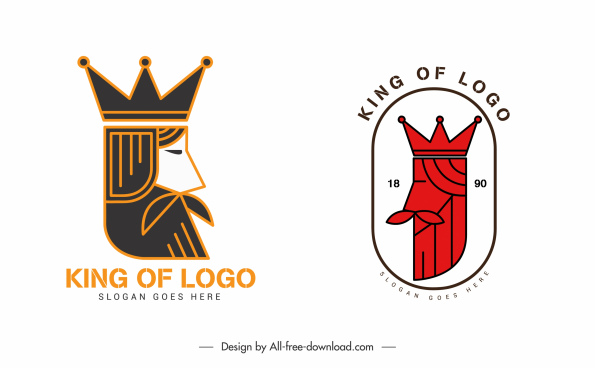 king logo templates classic flat handdrawn sketch