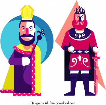 kings icons cartoon character colorful design