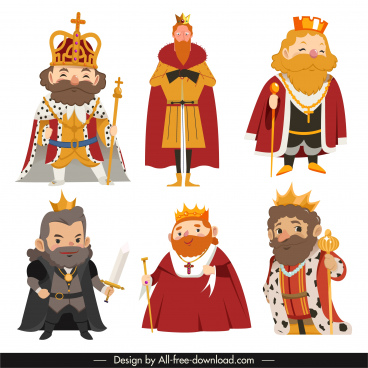 kings icons old man sketch cartoon characters