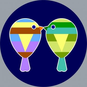 kissing birds icon multicolored flat design