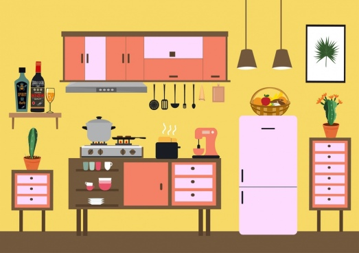 kitchen background colored flat design classical decor