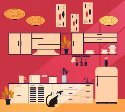 kitchen decor background modern colored flat sketch