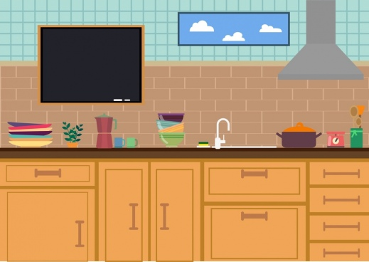 kitchen design colored flat decor