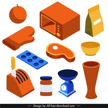 kitchen design elements objects sketch colored 3d