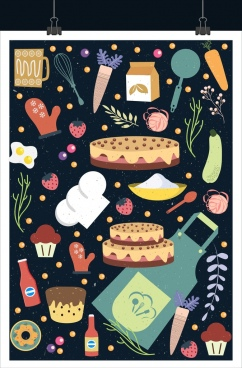 kitchen design elements various multicolored food utensils icons