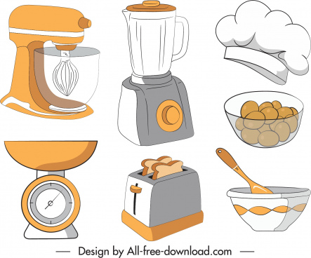 kitchen elements icons handdrawn sketch