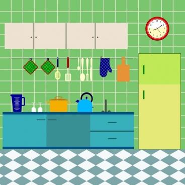kitchen furniture scheme design colored flat design