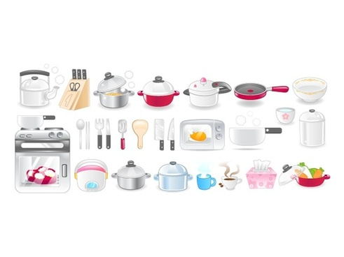 kitchen utensil icons vector illustration