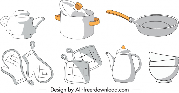 kitchen objects icons classic handdrawn sketch