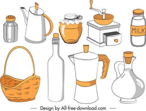 kitchen objects icons classical handdrawn outline