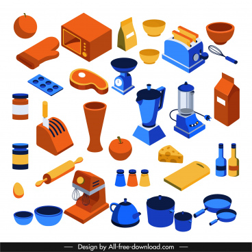 kitchen objects icons colored classic 3d sketch