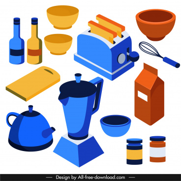 kitchen objects icons colored classic tools sketch