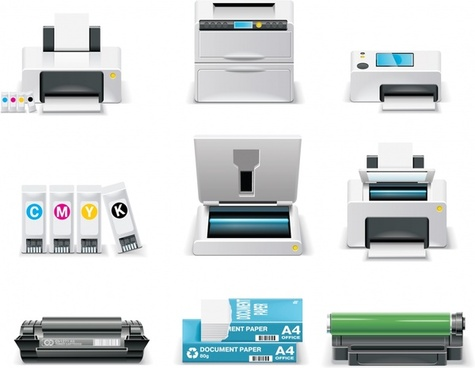 stationary icons printer design elements colored modern design