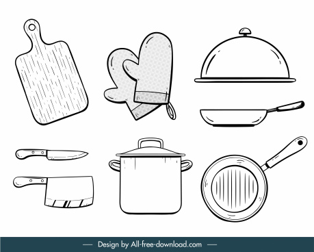 kitchen utensils icons black white handdrawn flat sketch