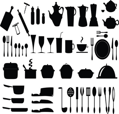 kitchen utensils vector silhouettes