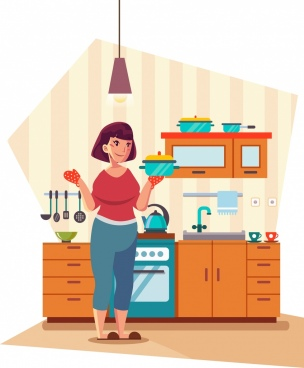 kitchen work background woman furniture icons cartoon design