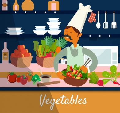 kitchen work drawing cook vegetable ingredient icons