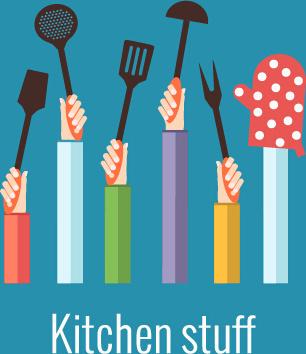 kitchenware and hands vector