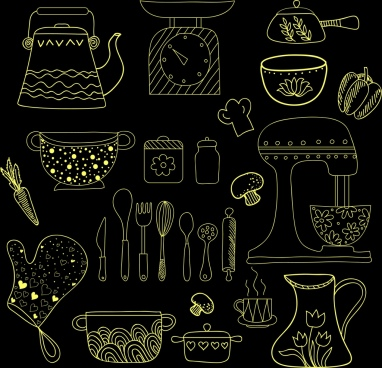 kitchenware icons black yellow handdrawn sketch