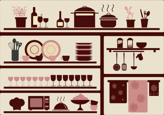 kitchenware objects design elements brown flat design