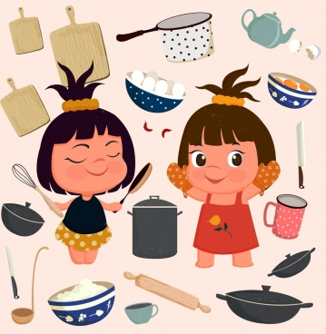 kitchenwares icons collection cute girls utensils accessories