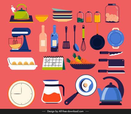 kitchenwares icons colorful classical sketch