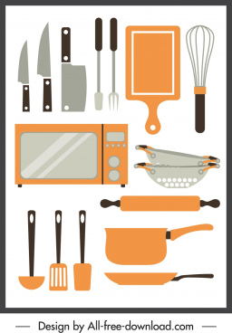 kitchenwares icons flat sketch classic design