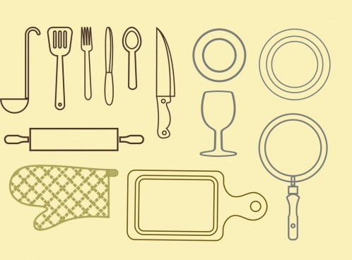 kitchenwares icons outline various flat design