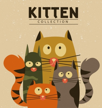 kitten background multicolored cartoon design