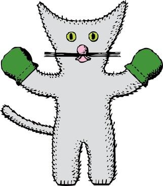 Kitten With Mittens clip art