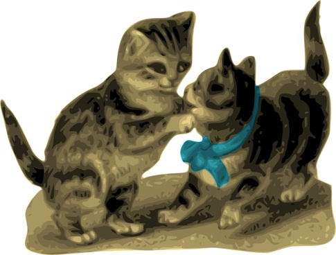 Kittens One With Blue Ribbon clip art