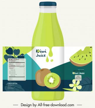 kiwi juice advertising background green bottle label decor