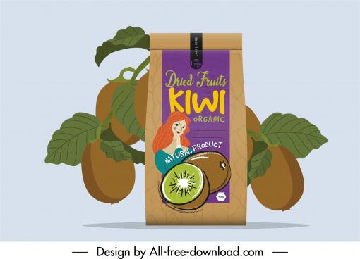 kiwi packaging template handdrawn decor classic design