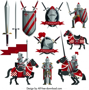 knight design elements sword shield horse armor icons