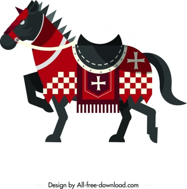 knight horse icon vintage colored flat design