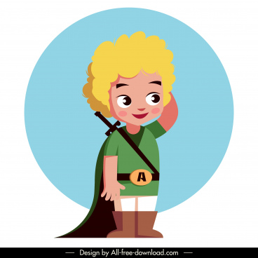 knight kid icon medieval costume cute cartoon character