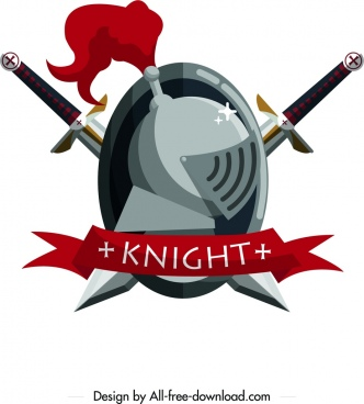 knight logotype sword armor ribbon icons symmetrical design