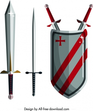 knight tools design elements sword shield icons