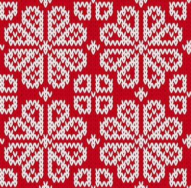 knitted fabric christmas pattern vector set