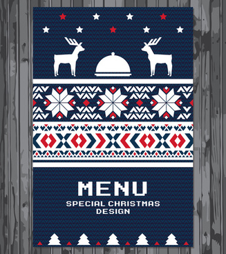 knitted pattern christmas menu cover vector