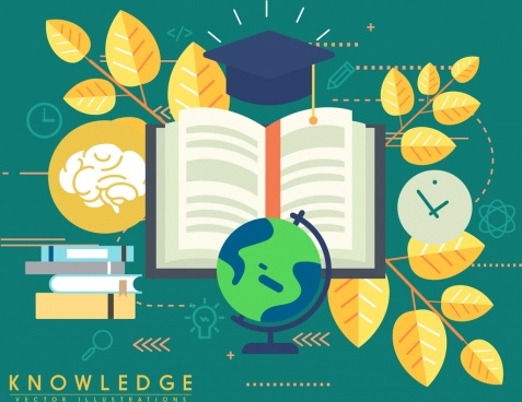knowledge background golden leaves education design elements decor