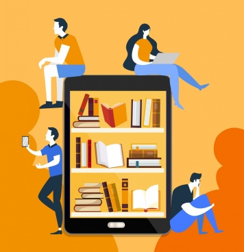 knowledge background people smartphone bookshelf icons decor