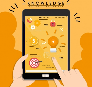 knowledge background smartphone user interface icons