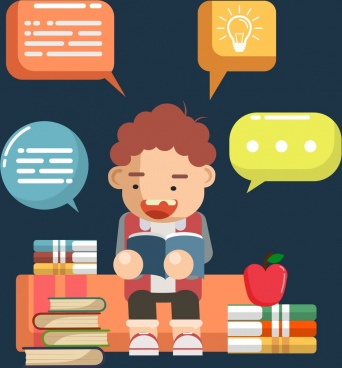 knowledge background studying boy books speech bubbles icons