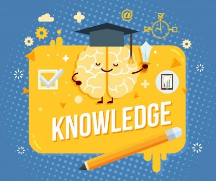 knowledge background stylized brain pencil educational elements decor