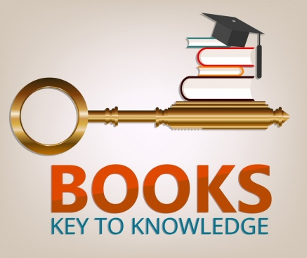 knowledge banner golden key books icons